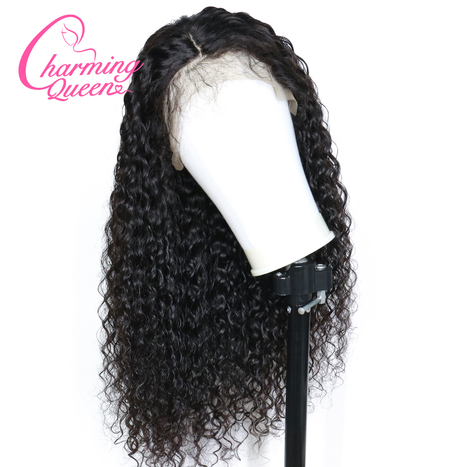 Curly 250% Density Lace Front Human Hair Wigs For Black Women Brazilian Remy Hair 13*4 Lace Wig With Baby Hair Charming Queen-in Human Hair Lace Wigs from Hair Extensions & Wigs    1