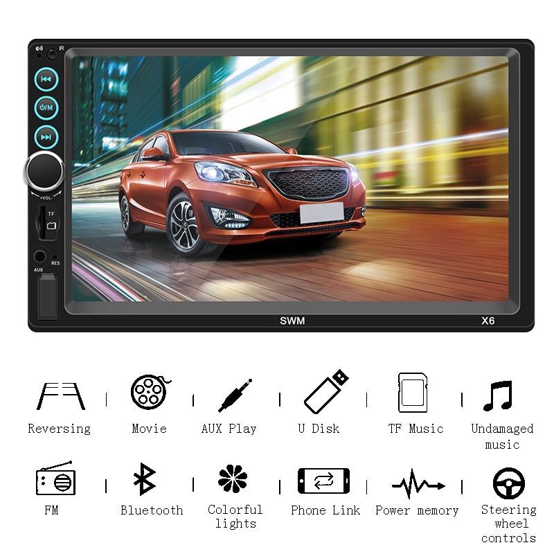 7 pouces Bluetooth lecteur de voiture 2 Din Autoradio 2 Din récepteur stéréo Autoradio Mp5 lecteur Bluetooth mains libres affichage de recul