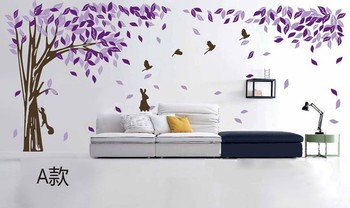 420*180CM large tree flower bird wall sticker wall paper mural for living room home decoration pvc vinyl sticker art