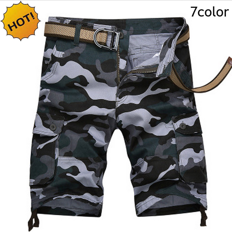 High quality 2018 Summer cotton Knee length straight Cargo loose Casual Camoflage Multi-pocket short trousers bermuda masculina