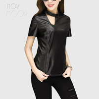 Korean style women black genuine leather real lambskin spliced t shirts and tops short sleeve hollow out slim camise ropa LT2308