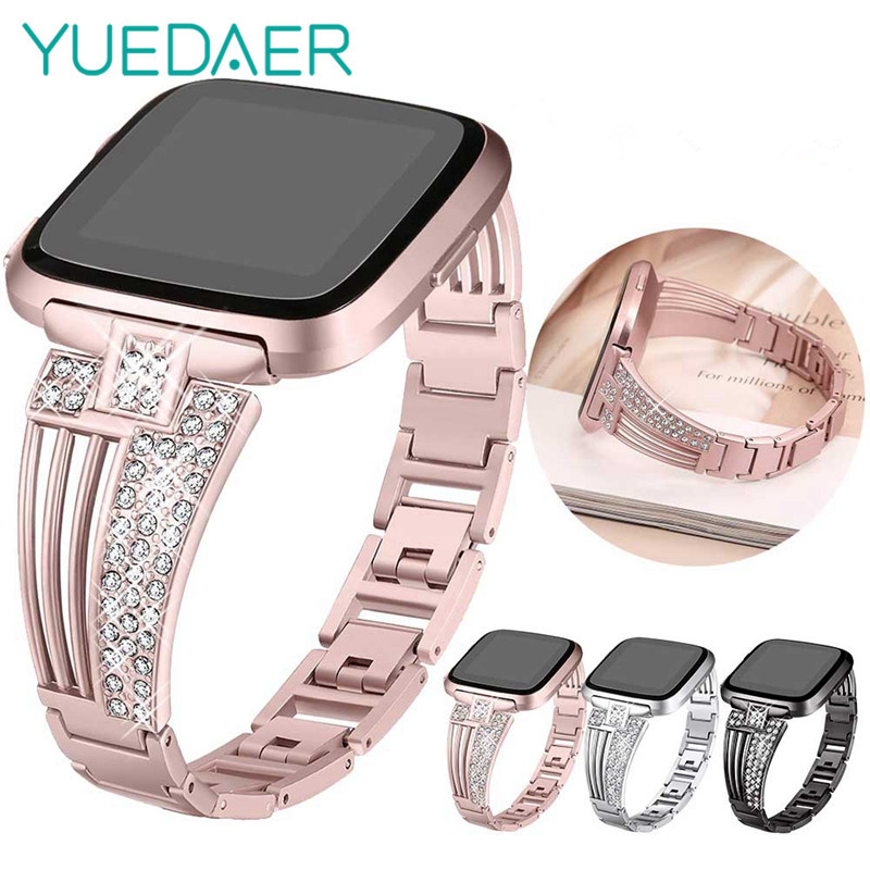 Smart Watch Band For Fitbit Versa Strap Watchband Metal Rose Gold Diamond Wristband For Fitbit Versa Bracelet Rose Gold Women