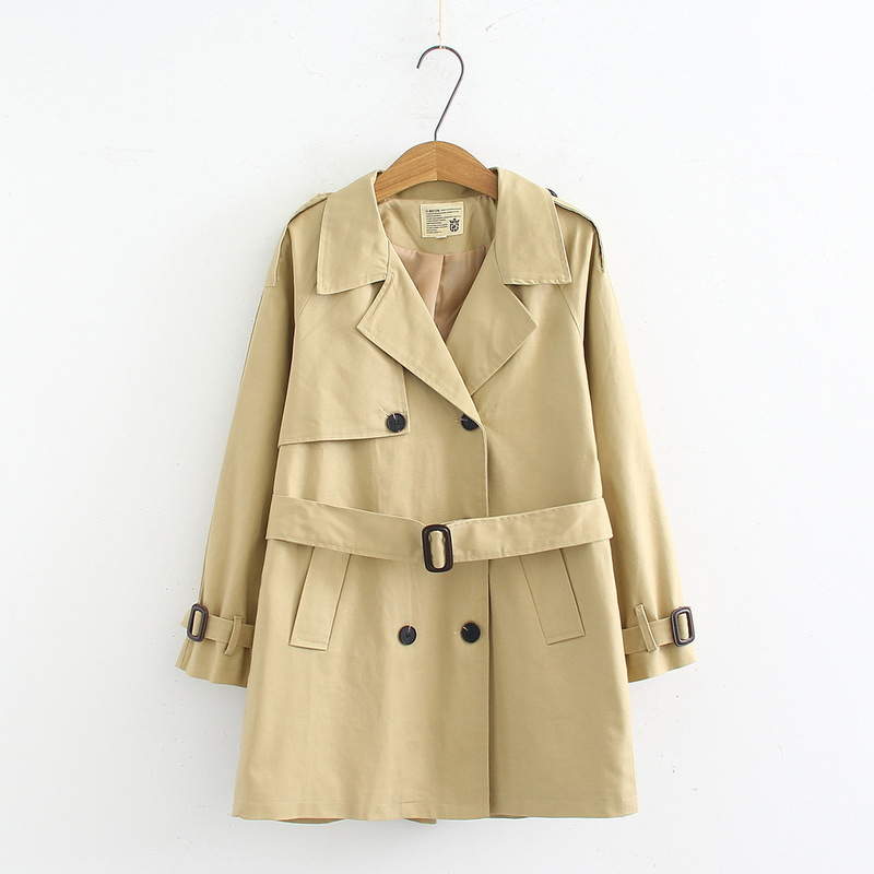 New Fashion Casual Long   Trench   Coat Women Spring Autumn Waist Belt Loose Khaki   Trench   Double Breasted Straight Outwear YT50115