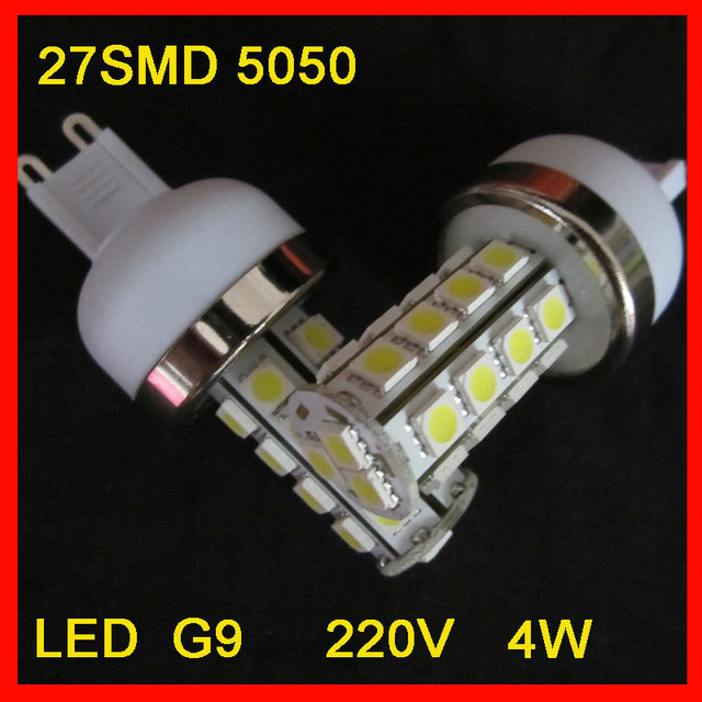 Hot sales energy -saving   220V 4W  320lm G9 5050 27*SMD Beam Angle 360 Angle LED Corn Bulb without cover DHL Free Shipping