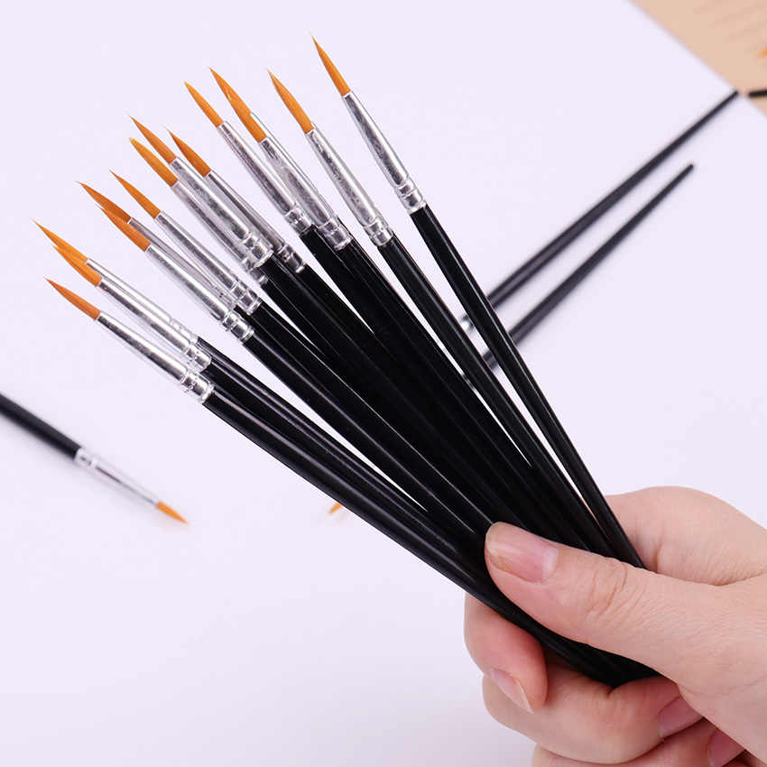 10 piezas fino pintado a mano gancho línea pluma punta redonda acuarela dibujo pincel pluma estudiante papelería arte suministros