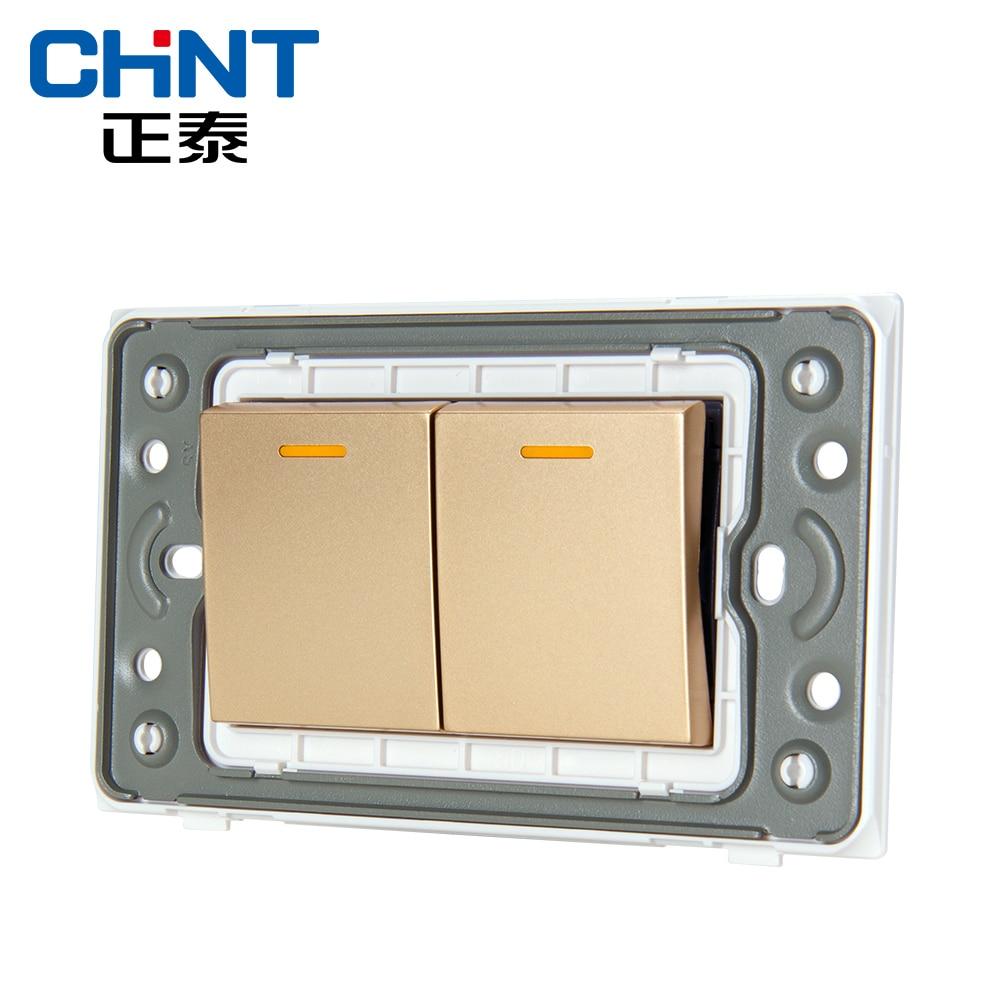 CHINT 118 Placa de Luz Interruptores Trefilado Oro NEW5D Acero ...