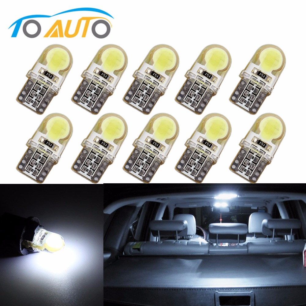 <font><b>10</b></font> <font><b>pcs</b></font> Auto <font><b>T10</b></font> Pure White 194 W5W 168 COB 8-SMD Silica Car <font><b>LED</b></font> Super Bright Turn Side License Plate Light Lamp Bulb DC12V image