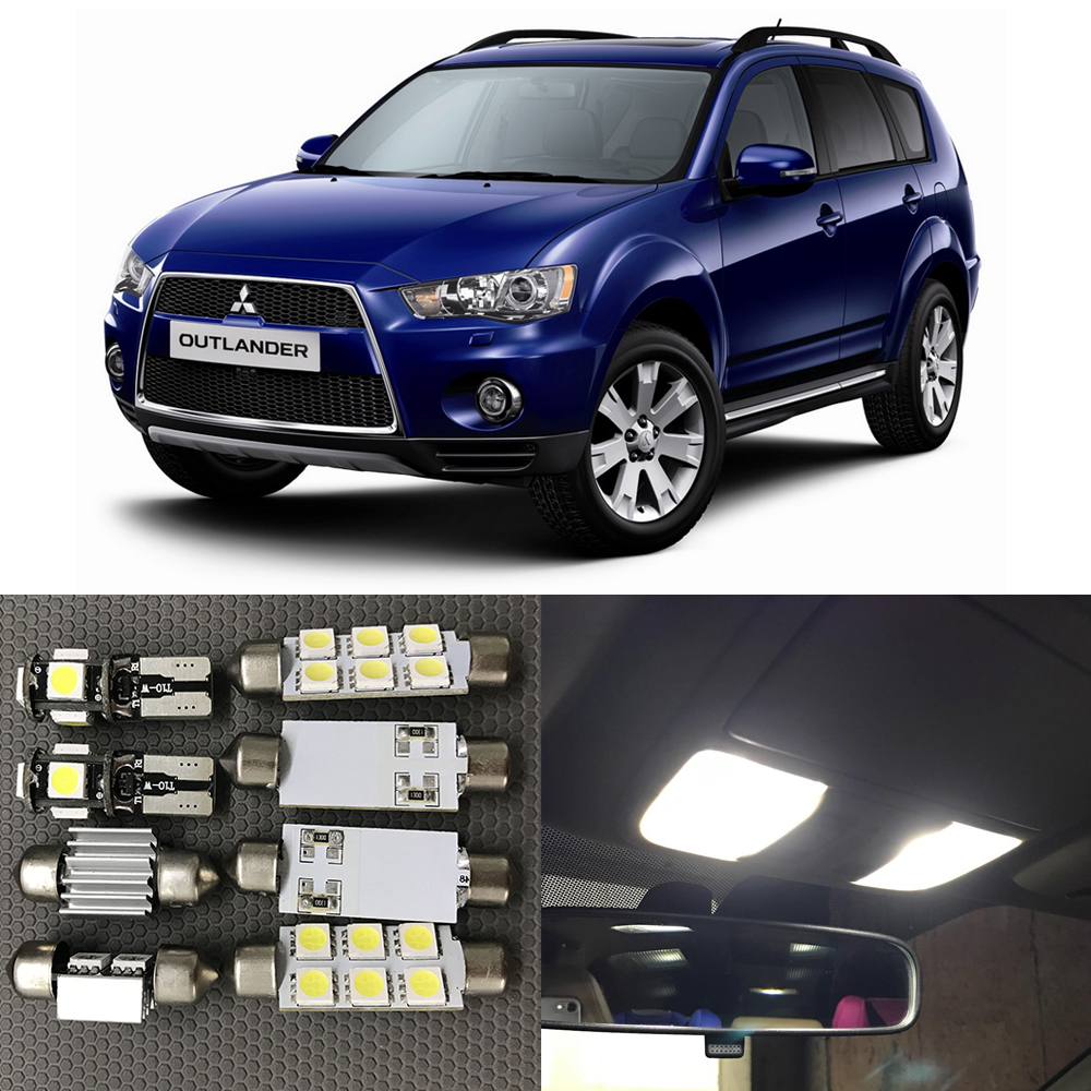 11pcs White Bulb LED Car Light Interior Kit For 2006 2007 2008 2009 2010 2012 Mitsubishi Outlander Map Dome Trunk Glove Box Lamp cawanerl car canbus led package kit 2835 smd white interior dome map cargo license plate light for audi tt tts 8j 2007 2012