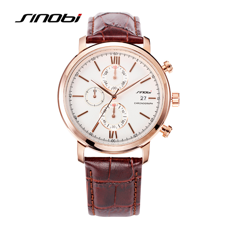 SINOBI New Arrival Brown Stripes Geneva Watch Vintage Casual Leather Strap Watches For Men Analog Quartz