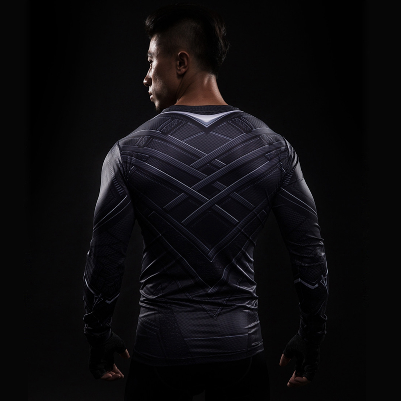 Black Panther 3D Printed T-shirts Men Compression Shirt Captain America long Sleeve Cosplay Halloween Costume For Men Tops Male 1