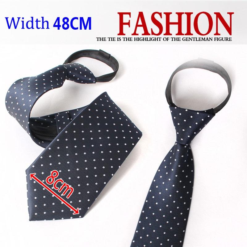 Men's New Fashion Zipper Striped Convenient Neck Tie 8cm Width Work Professional Stduent Interview Necktie For Men With Gift Box