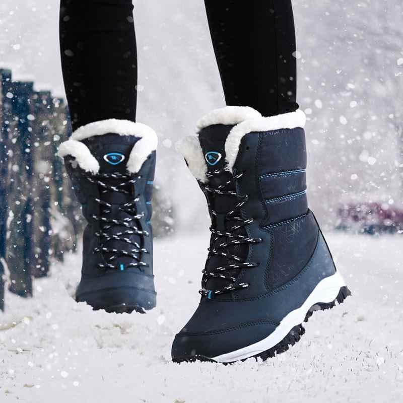 חדש קרסול מגפי נשים חורף עמיד למים שלג מגפי נשים נעלי אופנה חורף מגפי קטיפה חמה Winte מגפי נשים בתוספת גודל 42