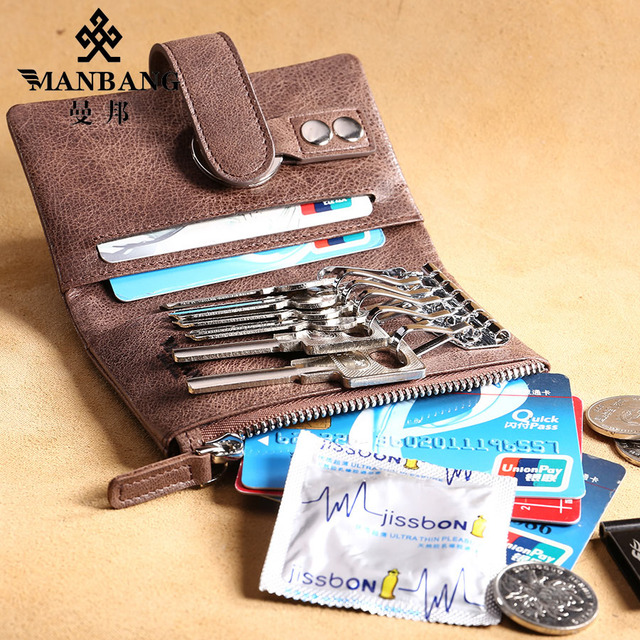 Manbang 2017 New  leather Key wallet men/women first layer nature cowskin key case  MBYSB1143