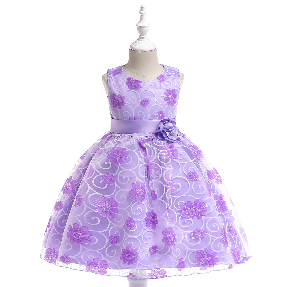 Purple flower girls dresses for weddings Baby Party frocks children ...