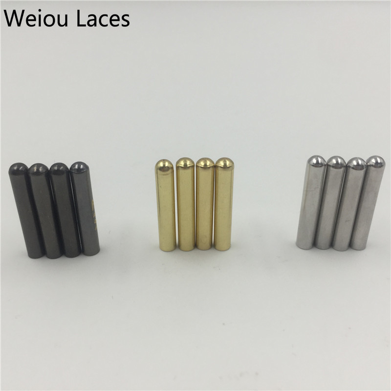 Offical Weiou 20pcs/Lot 3.8x22mm Metal Shoelaces Repair Tips Head Aglets Seamless DIY Replacement Sneaker Kits Silver Gold Black weiou 20pcs lot 4x22mm seamless shoelaces metal aglets bullet shaped head ends replacement repair tips sneaker kits diy custom