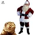 A juego completo de trajes de navidad de santa claus para adultos azul rojo ropa de navidad traje de santa claus traje de lujo