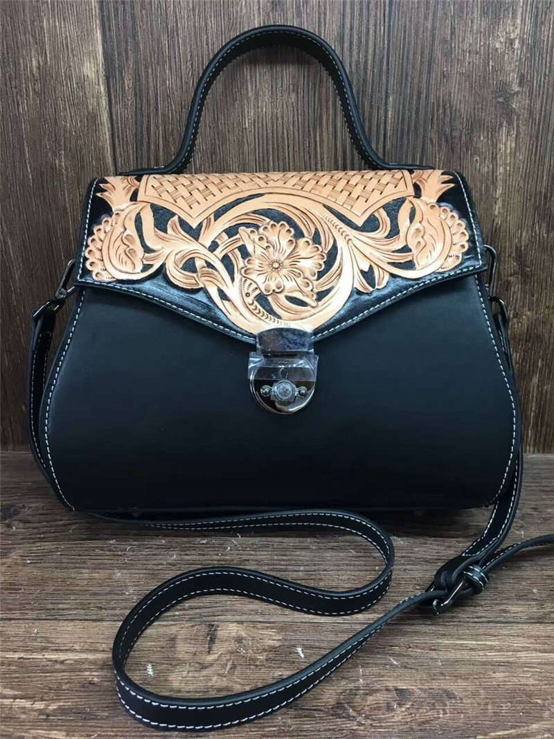 New Women Leather Handbag Famous Brand Women Messenger Bags Women Shoulder Bag Hand Carve Flower Female Bag yuanyu 2018 new hot free shipping real python leather women clutch women hand caught bag women bag long snake women day clutches