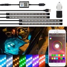 Светодиодные ленты RGB дистанционное управление автомобиля Декоративные Атмосфера света для hyundai Tucson 2017 Creta Kona IX35 Solaris Accent I30 Santa Fe