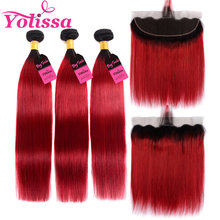 Yolissa 1B/Red Ombre Bundles With Frontal Brazilian Straight Hair 3 Bundles With Frontal Human Remy Hair Extension(China)