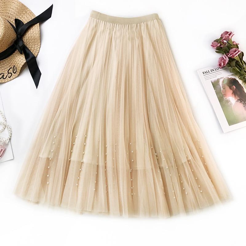 Simplee Casual Pearl women skirt High waist A line korean tassel pink summer skirt Sexy ruffle beach female skirts 2019 in Skirts from Women 39 s Clothing
