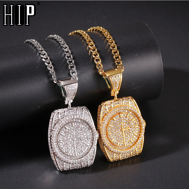 Hip Hop Iced Out Full Rhinestone Watch Shape Pendant & Necklace For Men Women Jewelry Gold Silver Color Charm Chain DropshippingHip Hop Iced Out Full Rhinestone Watch Shape Pendant & Necklace For Men Women Jewelry Gold Silver Color Charm Chain Dropshipping
