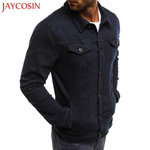 JAYCOSIN Men's  Button Solid Color Vintage Denim Jacket Tops Blouse Autumn Winter Hooded Coat  z0814