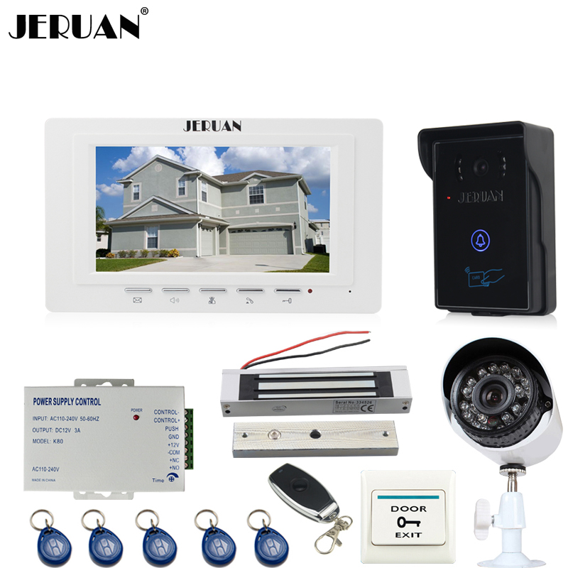 JERUAN white 7`` TFT video door phone intercom System monitor brand new RFID waterproof Touch Camera+700TVL Analog Camera jeruan home 7 video door phone intercom system kit rfid waterproof touch key password keypad camera remote control in stock