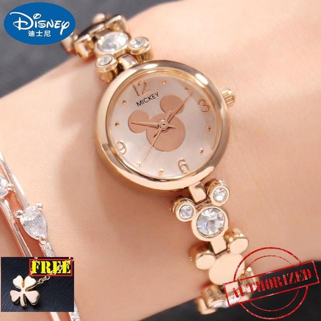 מיקי עכבר בלינג ריינסטון יוקרה גבירותיי טרנדי צמיד זהב כסף פלדה שעונים דיסני נשים שמלה יפה קריסטל שעון