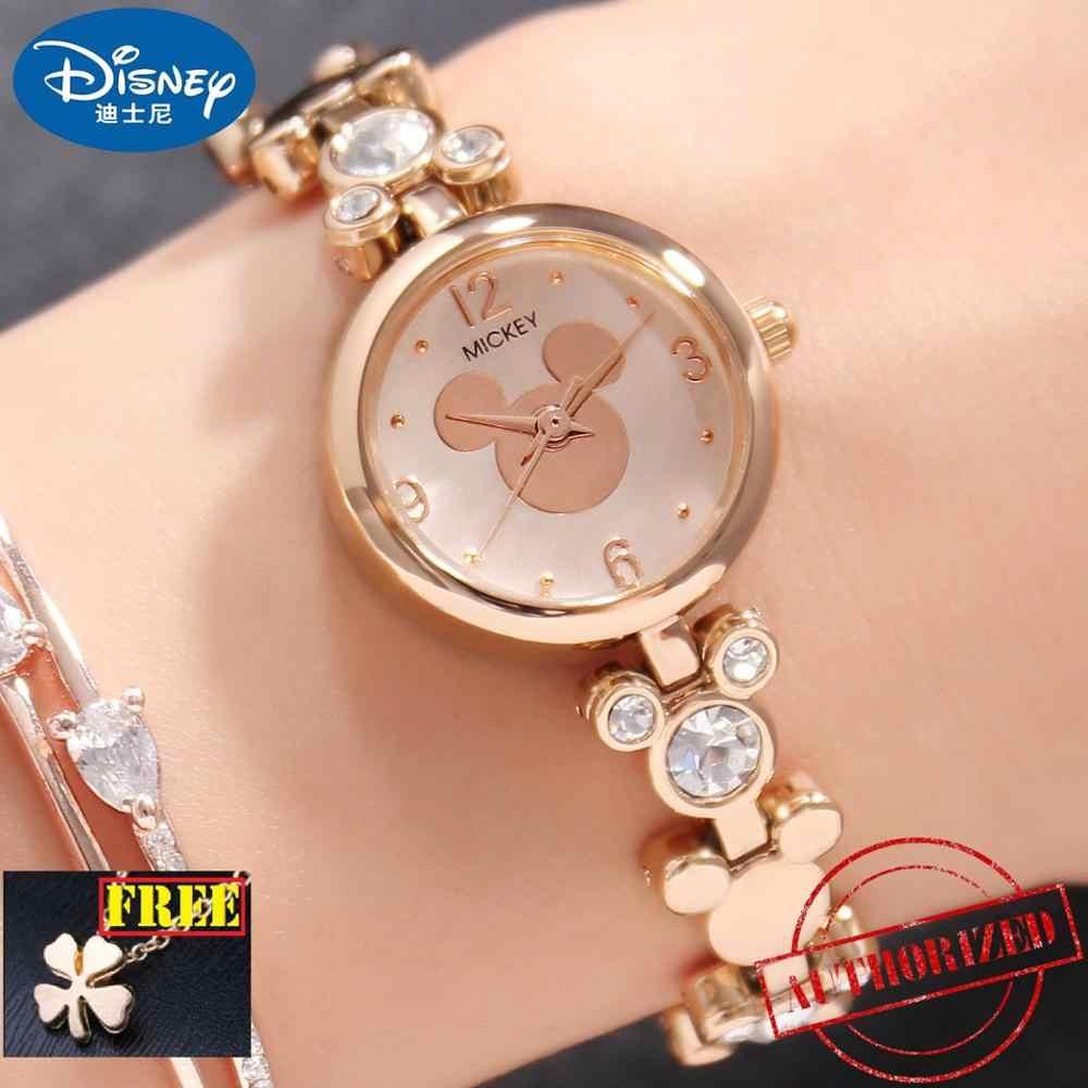 Mickey Mouse Bling Strass Signore Di Lusso del Braccialetto Alla Moda Oro Argento Acciaio Inox Orologi Disney Vestito Delle Donne Bella di Cristallo Orologio
