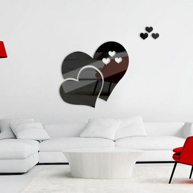 A Forma di cuore Specchio Adesivi Murali Tridimensionale Soggiorno ...