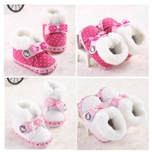 Sweet Cartoon Infant Toddler Princess Girls Winter Super Warm Woolen Hello Kitty Shoes Newborn Baby Soft Soled Boots Booties