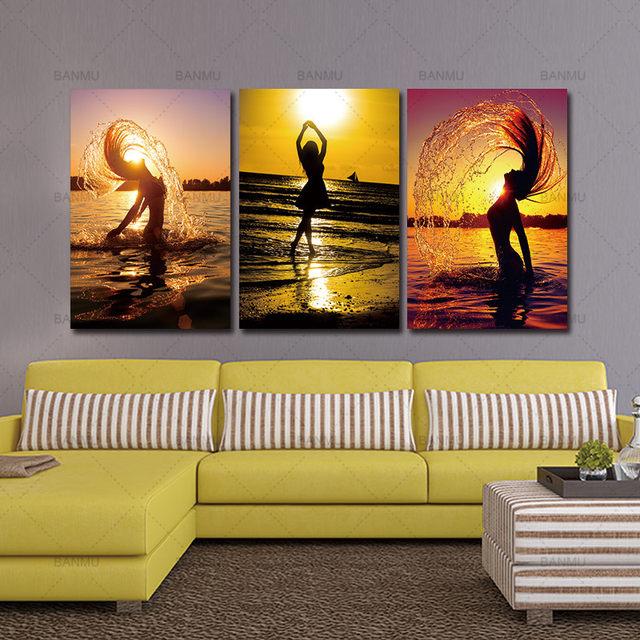Tienda Online 5 unidades Sunset Beach pintura al óleo mujeres ...