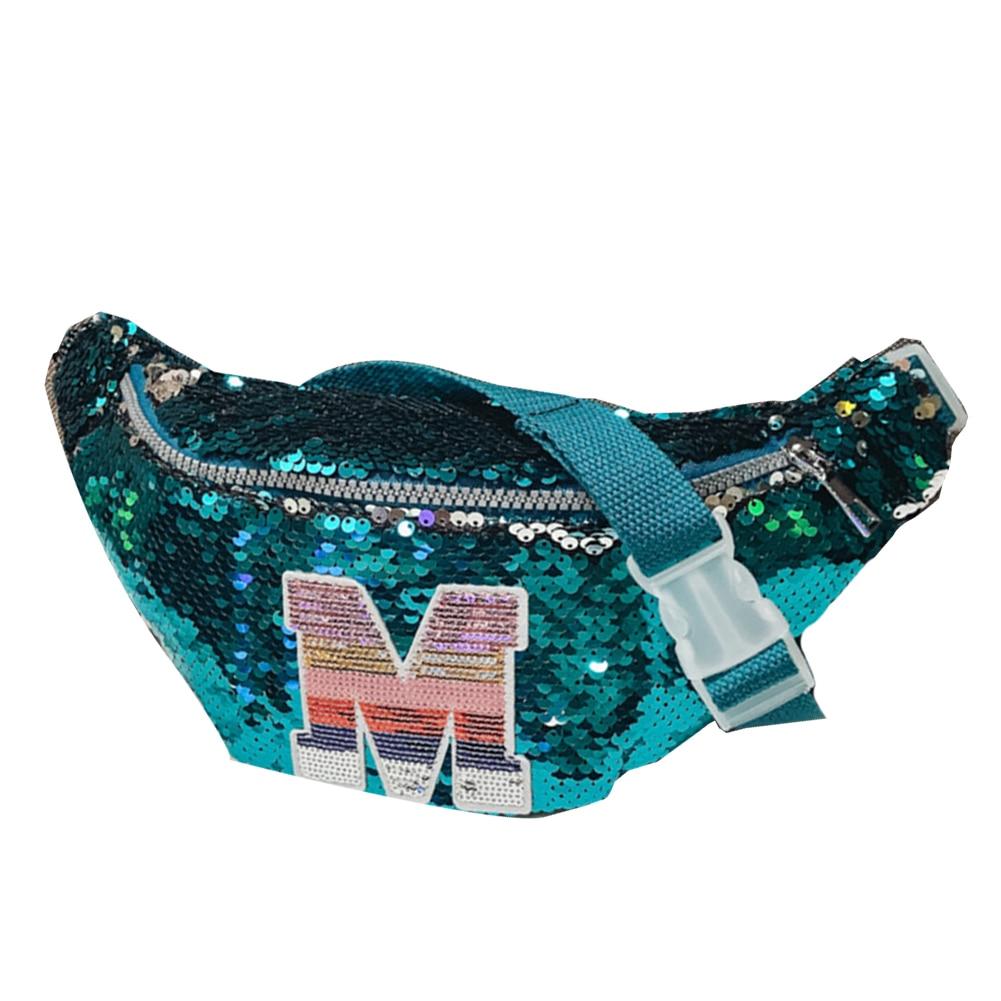 Children Girl Capital Letter Sequins Bum Bag Fanny Pack Crossbody Shoulder Bag Pochete Bauchtasche сумка женская кожа Hot Sale
