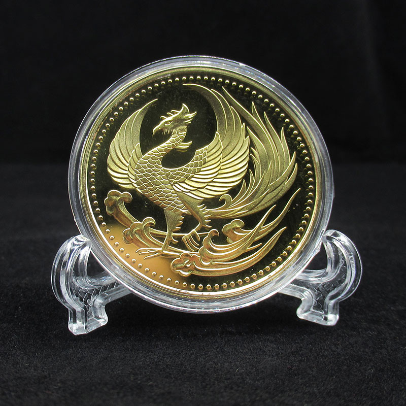 2017 New Japan Golden Phoenix Chrysanthemum Metal Coins Souvenir Art Gold Coin Collection Gift Dia 40MM