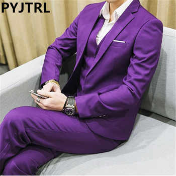 PYJTRL Men's Three-piece Plus Size 5XL 6XL 2017 White Yellow Red Purple Navy Blue Green Male Business Casual Wedding Groom Suits - DISCOUNT ITEM  50% OFF All Category