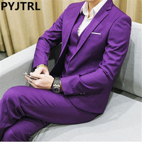 PYJTRL Men's Three piece Plus Size 5XL 6XL 2017 White Yellow Red Purple Navy Blue Green Male Business Casual Wedding Groom Suits
