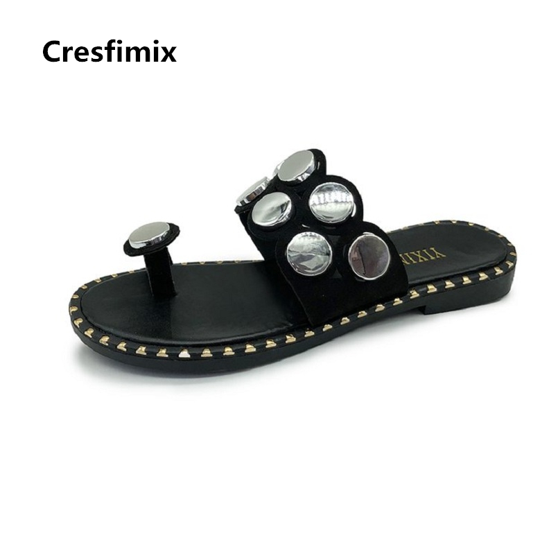 Cresfimix women fashion spring & summer slip on sandals lady comfortable waterproof black sandals sexy & cool beige sandalsb2287 chic beige band cool summer lady style straw hat for women
