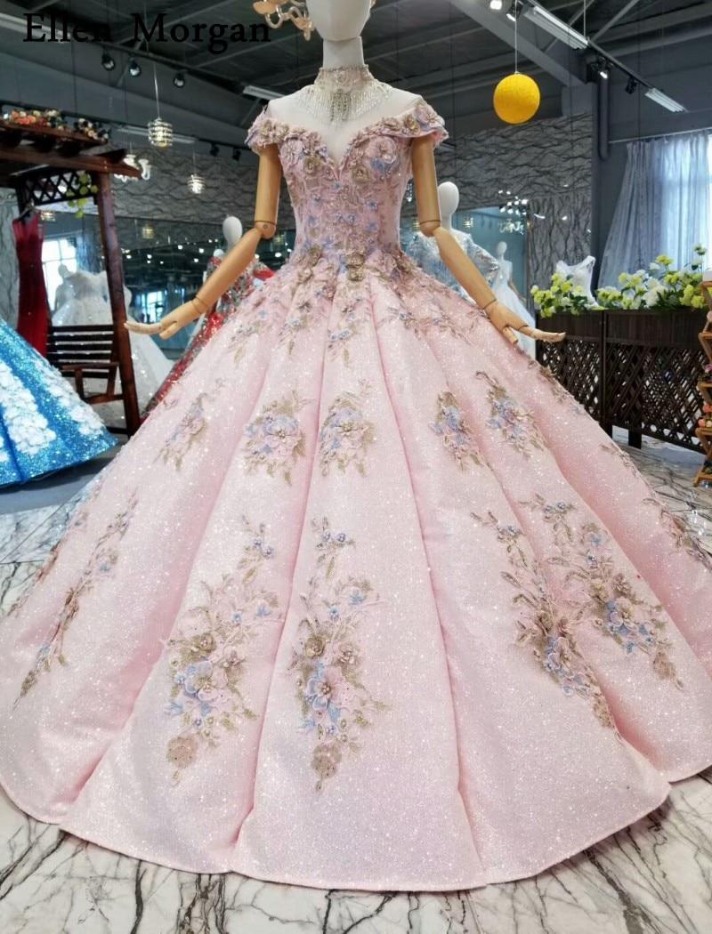 Pink Glitter Fabric Lace Ball Gowns Wedding Dresses 2019 Custom