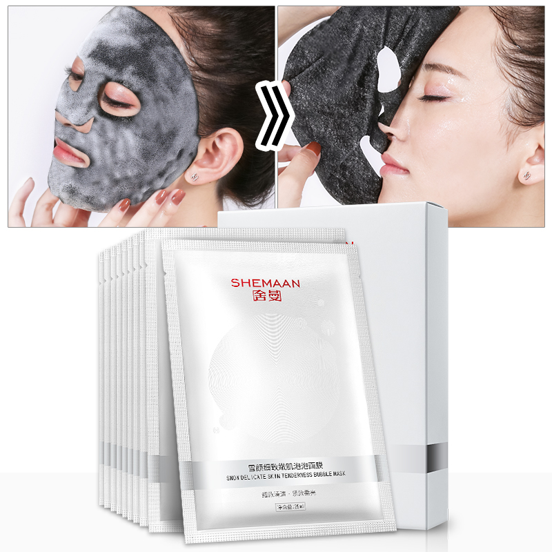 10PCS/lot Detox Oxygen Bubble Sheet Mask Moisturizing Bamboo Charcoal Black Face Mask Foam Cleaning Pore Skin Care