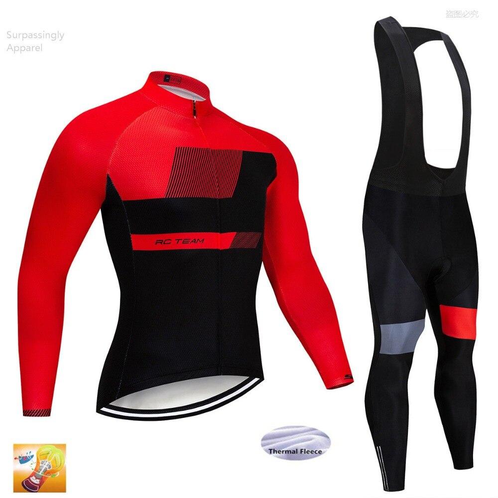Spor ve Eğlence'ten Bisiklet Takımları'de Yarış Takımı Bisiklet Jersey Kış Termal Polar Uzun Kollu 16D Jel Ped Pantolon Ropa Ciclismo Bisiklet Bisiklet Giyim Maillot 2019 title=