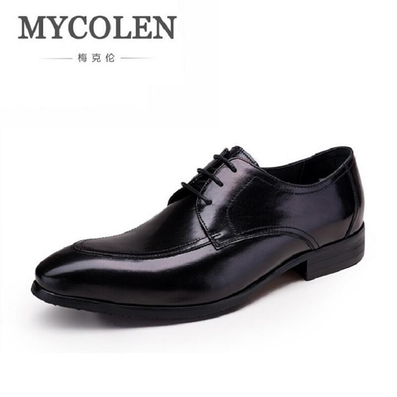 MYCOLEN Autumn Men Business Office Dress Shoes Casual Pointed Toe Leather Shoes Brand Male Oxfords Shoes zapatillas hombre pjcmg spring autumn men s genuine leather pointed toe slip on flats dress oxfords business office wedding for men flats shoes
