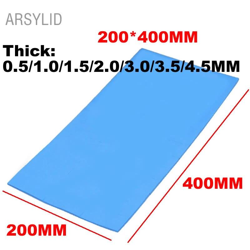 De alta calidad de 200mm * 400mm * 1,0/2,0/3,0mm conductividad térmica 3,6 W GPU CPU disipador de calor de refrigeración conductivo de silicona Pad térmico,