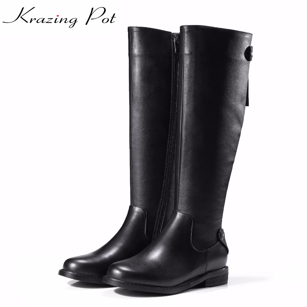 Krazing Pot 2018 new cow leather high street fashion riding boots low heels woman round toe keep warm solid thigh high boots L35 china factory offer clinical trial diabetes laser treatment best selling