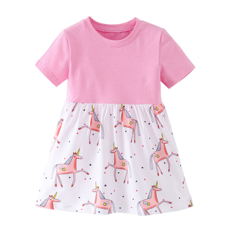 Jumping Meters Princess New Arrival Baby Unicorns Dresses Girls Cotton Clothing Stripe Summer Kids Party Dress for Children Wear 1