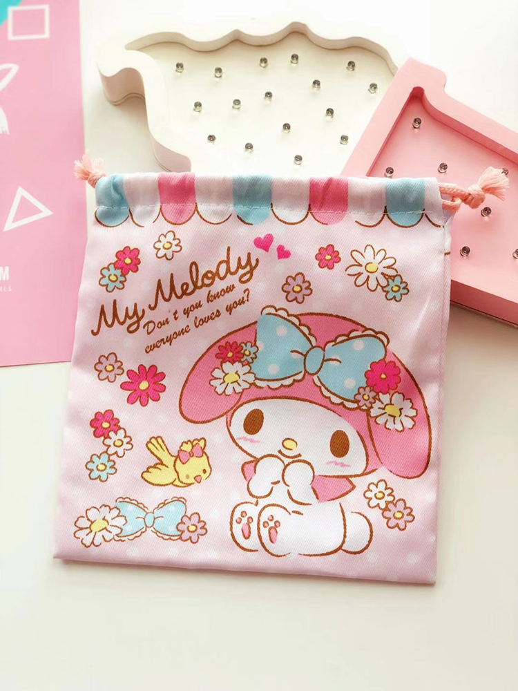 1pc Cartoon Melody  Cinamoroll Kuromi Pocket Storage Bag Sports School Drawstring Pump Bags For Girls Kids