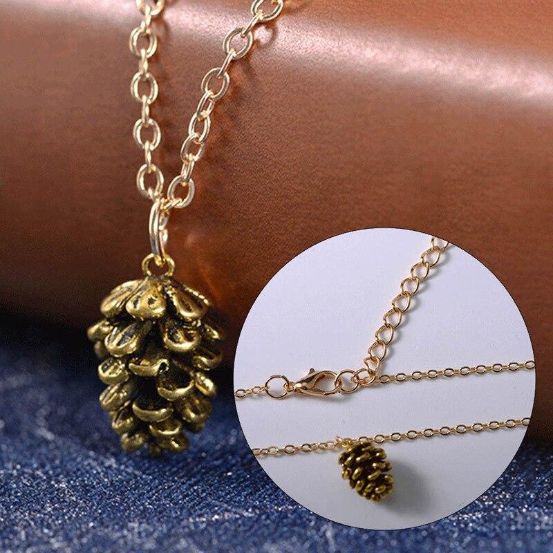 1pc Autumn Mini Pine Cone Pendant Necklaces Christmas Sweater Chain Pinecone Jewelry Suspend Collar Collier Gift Necklace