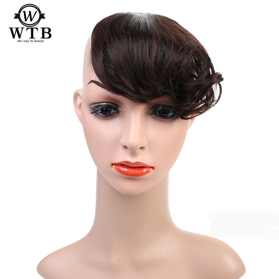WTB WIG Bangs False Short Flat Bangs Two Side Clip On Curly Bangs Black Fringe Hair Extensions Synthetic Clips In Hair