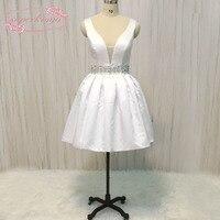 SuperKimJo белое платье для возлюбленной для встречи выпускников декольте Хрустальный пояс атласная открытая спина дешевые короткие/Коктейльн