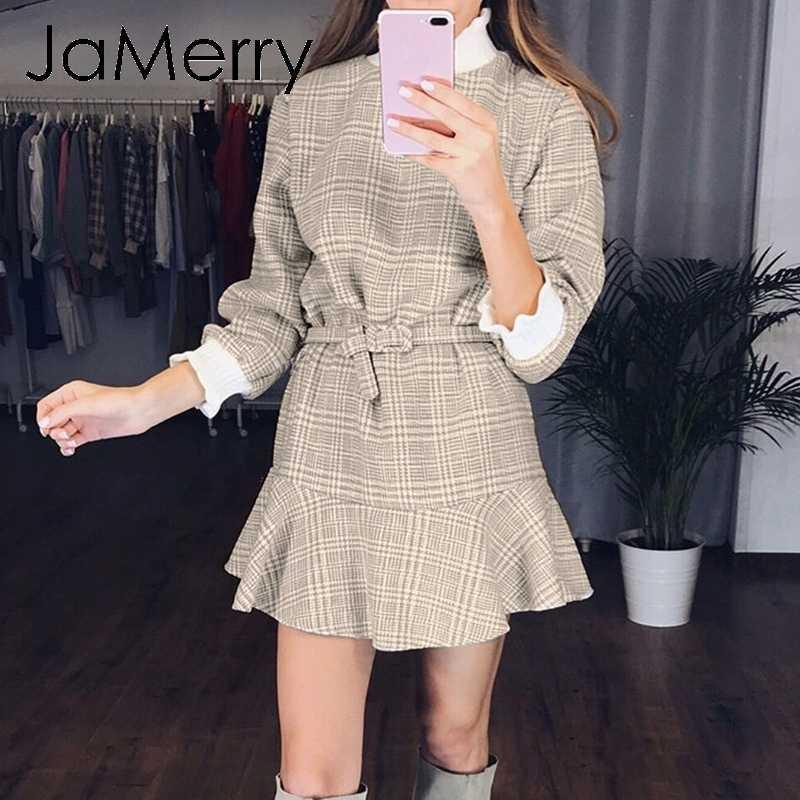 JaMerry, винтажное, элегантное, клетчатое платье, для женщин, с высоким воротом, трикотажное, короткое, мини платье, с рюшами, с поясом, Осеннее, для офиса, для девушек, vestidos, платья
