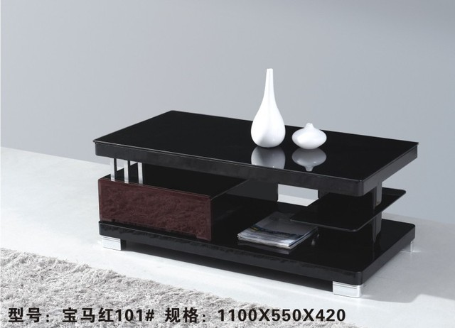 101# Modern Wooden Red Black Panel Tea Table Glass Top Surface Living Room Coffee  Side